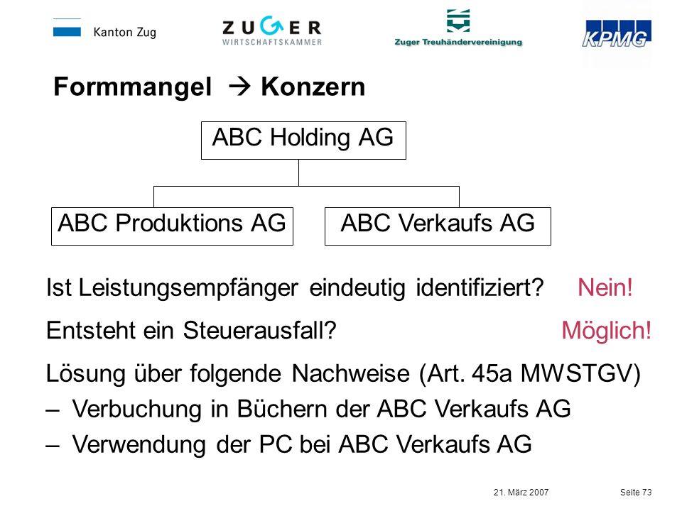 Formmangel  Konzern ABC Holding AG ABC Produktions AG ABC Verkaufs AG