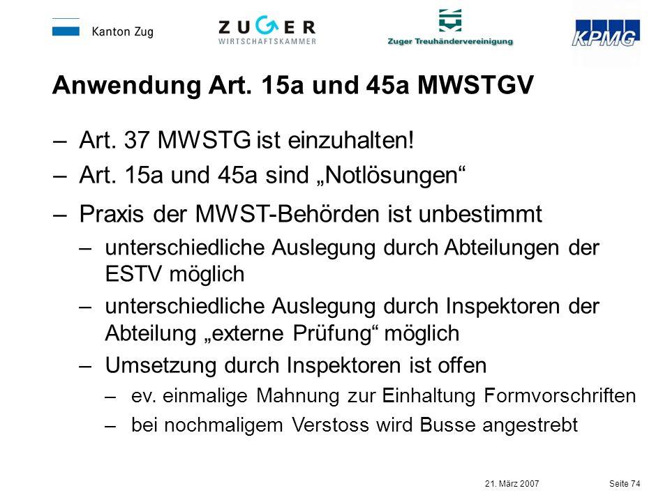 Anwendung Art. 15a und 45a MWSTGV
