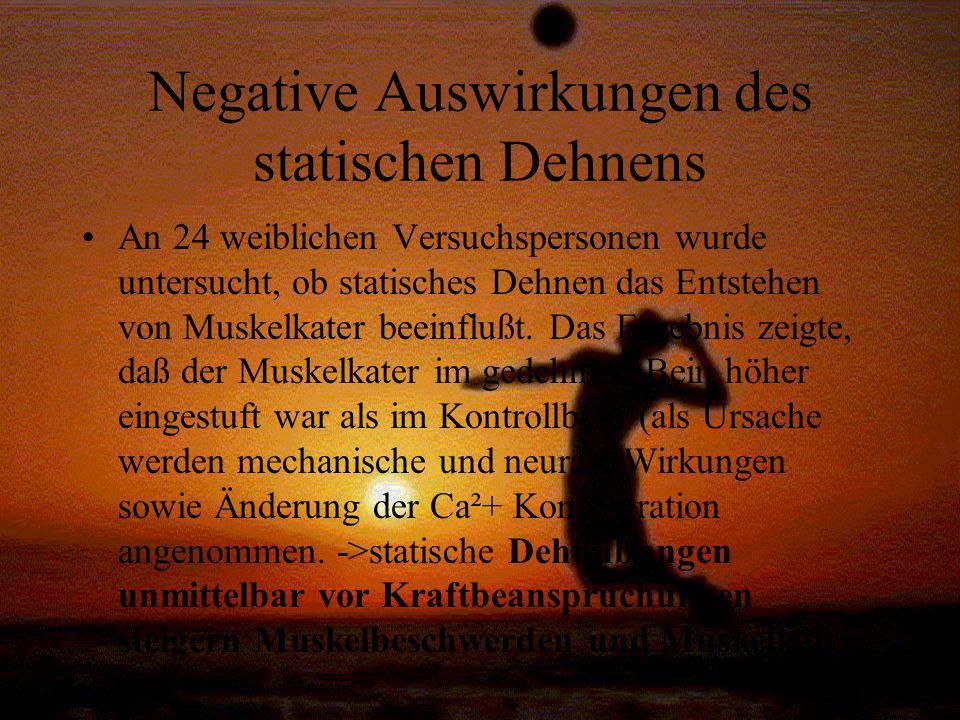 Negative Auswirkungen des statischen Dehnens