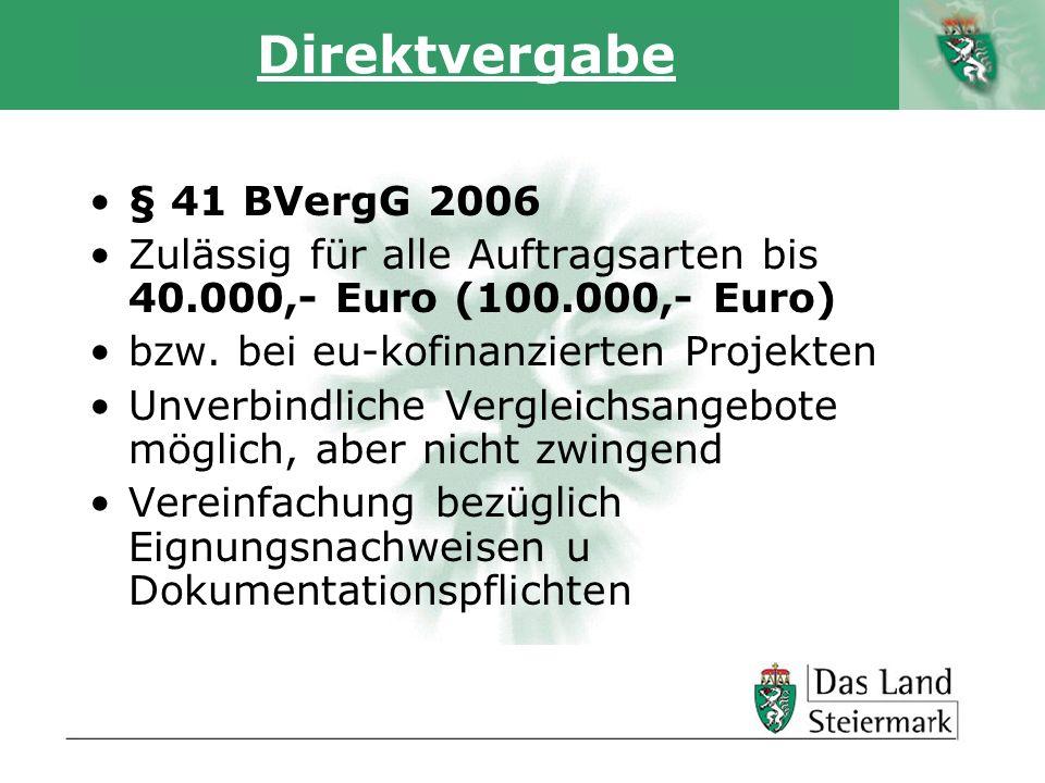 Direktvergabe § 41 BVergG 2006