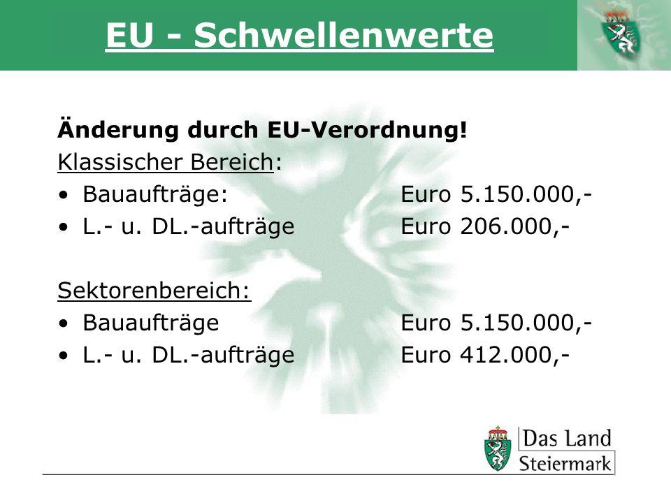 EU - Schwellenwerte Änderung durch EU-Verordnung! Klassischer Bereich: