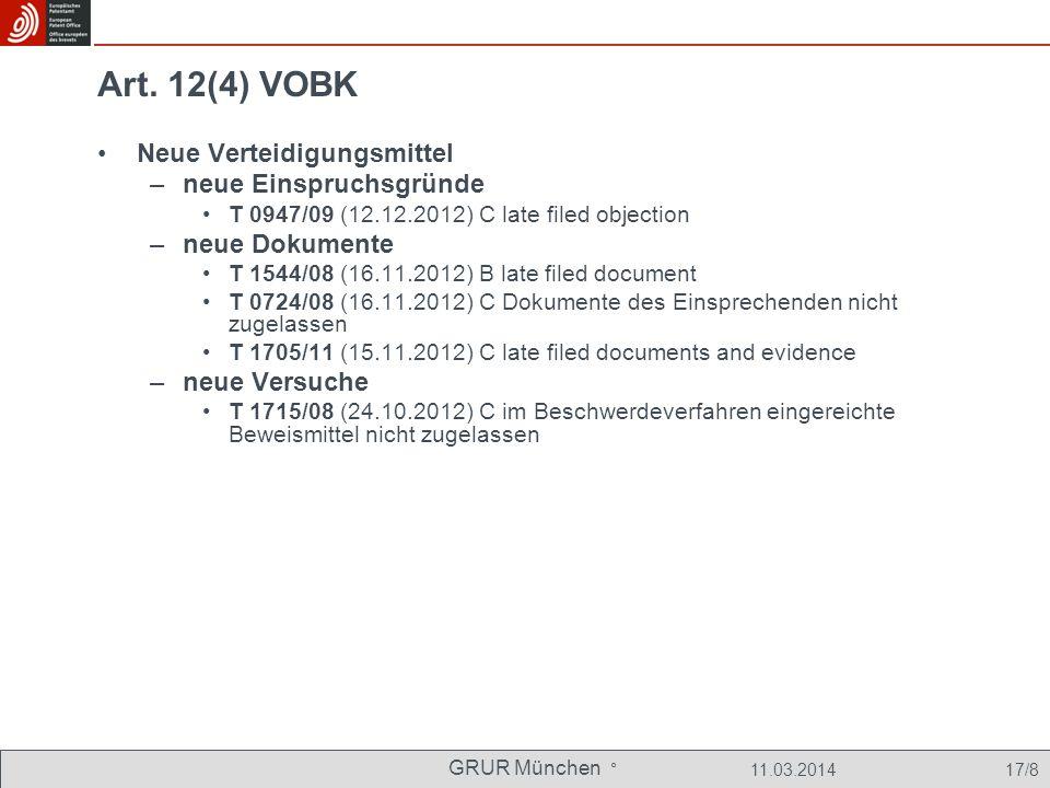 Art. 12(4) VOBK Neue Verteidigungsmittel neue Einspruchsgründe