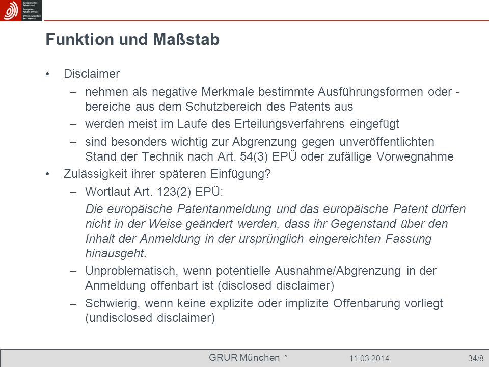 Funktion und Maßstab Disclaimer