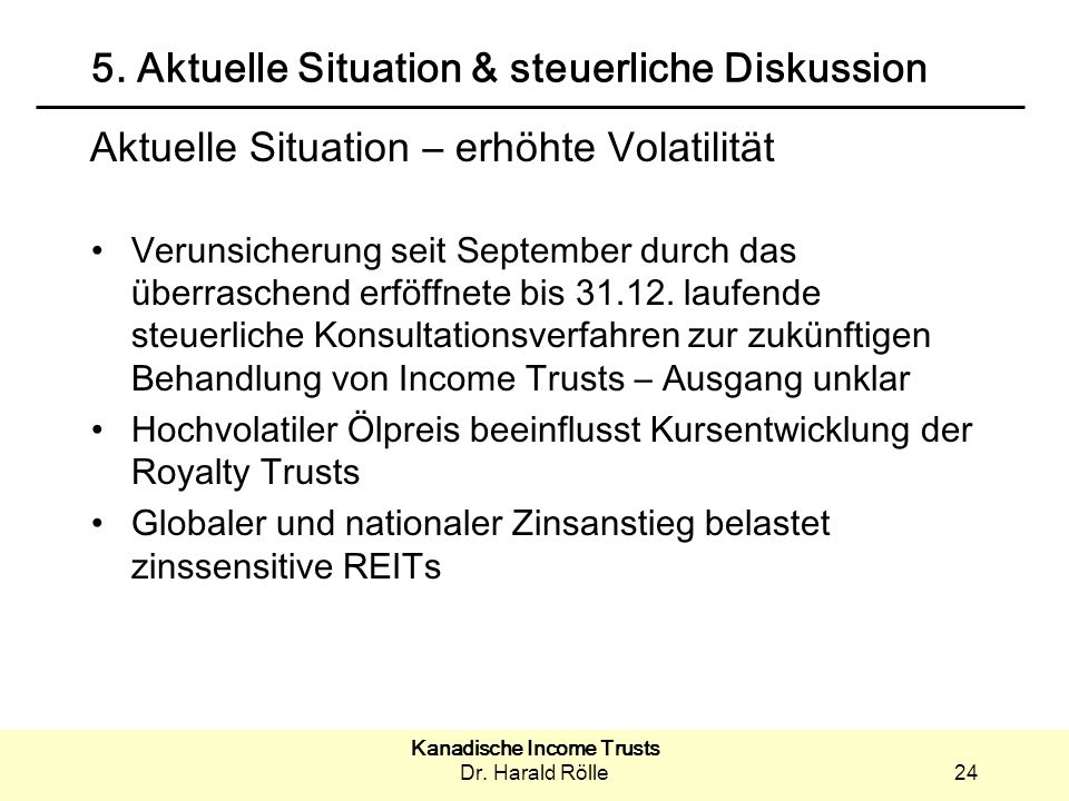 5. Aktuelle Situation & steuerliche Diskussion