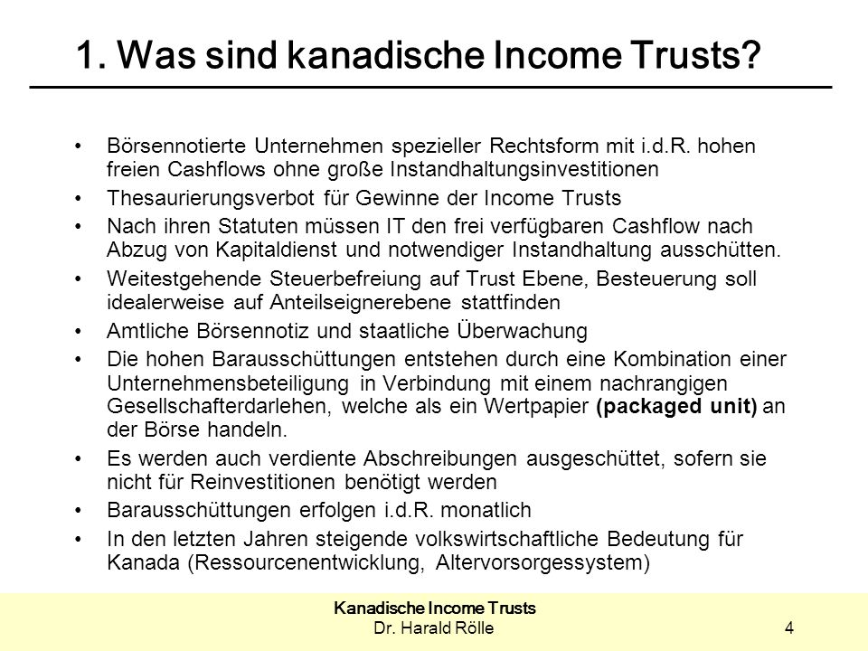 1. Was sind kanadische Income Trusts