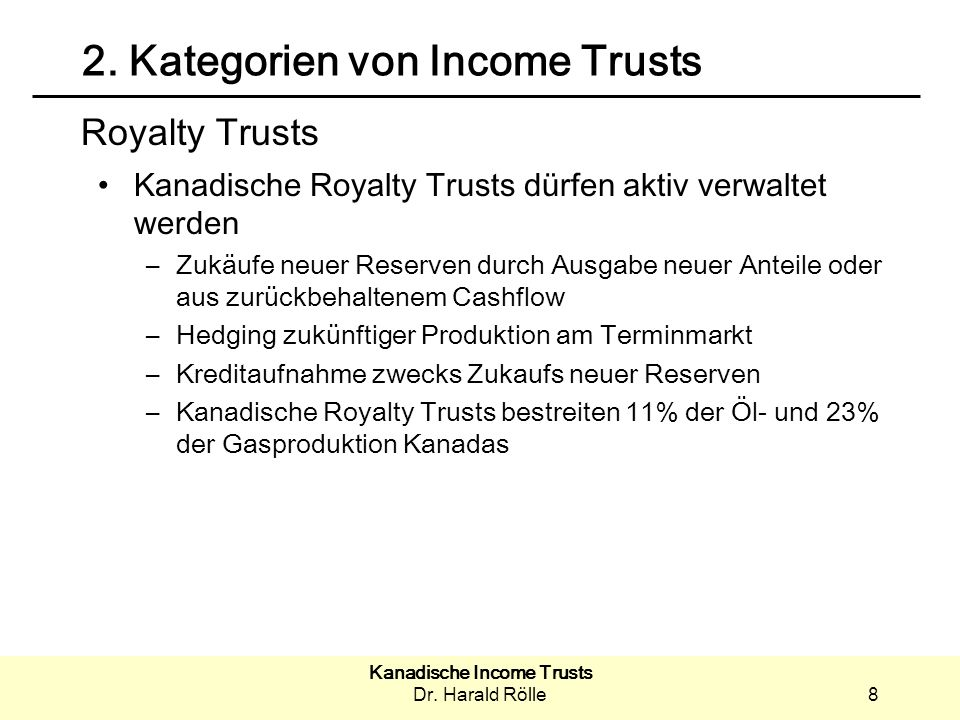 2. Kategorien von Income Trusts