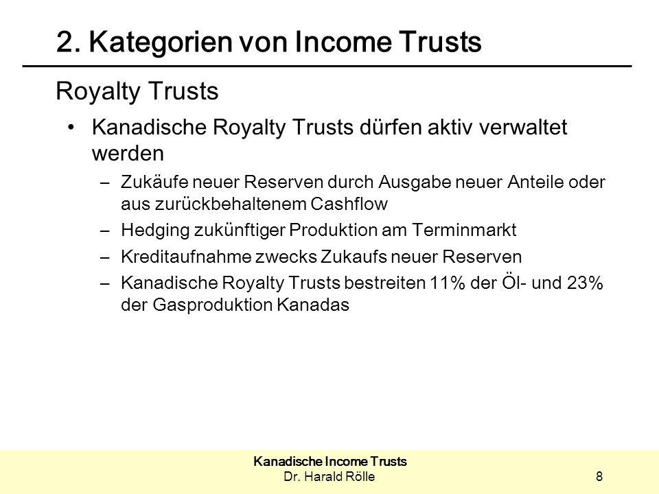 2. Kategorien von Income Trusts
