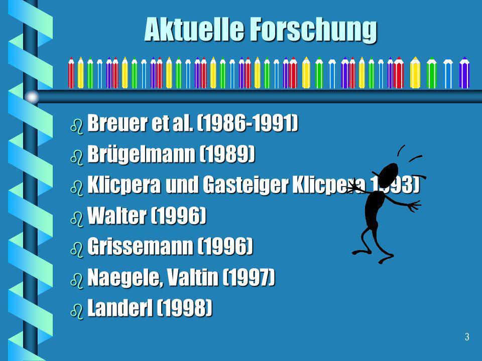 Aktuelle Forschung Breuer et al. (1986-1991) Brügelmann (1989)