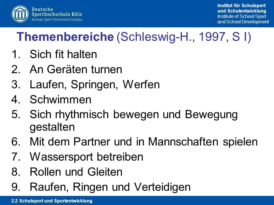 Themenbereiche (Schleswig-H., 1997, S I)