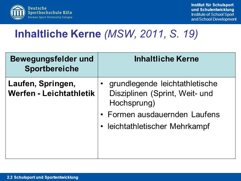 Inhaltliche Kerne (MSW, 2011, S. 19)