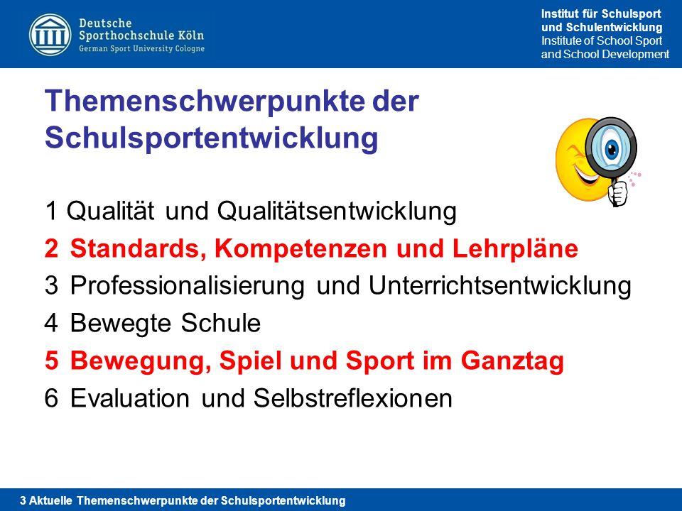 Themenschwerpunkte der Schulsportentwicklung Qualität und Qualitätsentwicklung