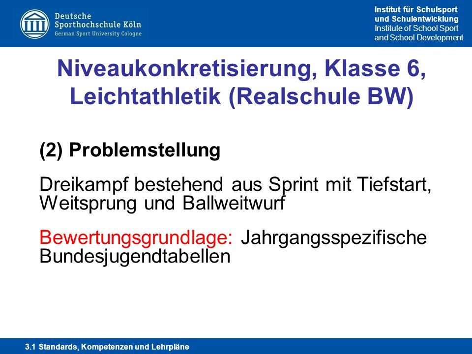 Niveaukonkretisierung, Klasse 6, Leichtathletik (Realschule BW)