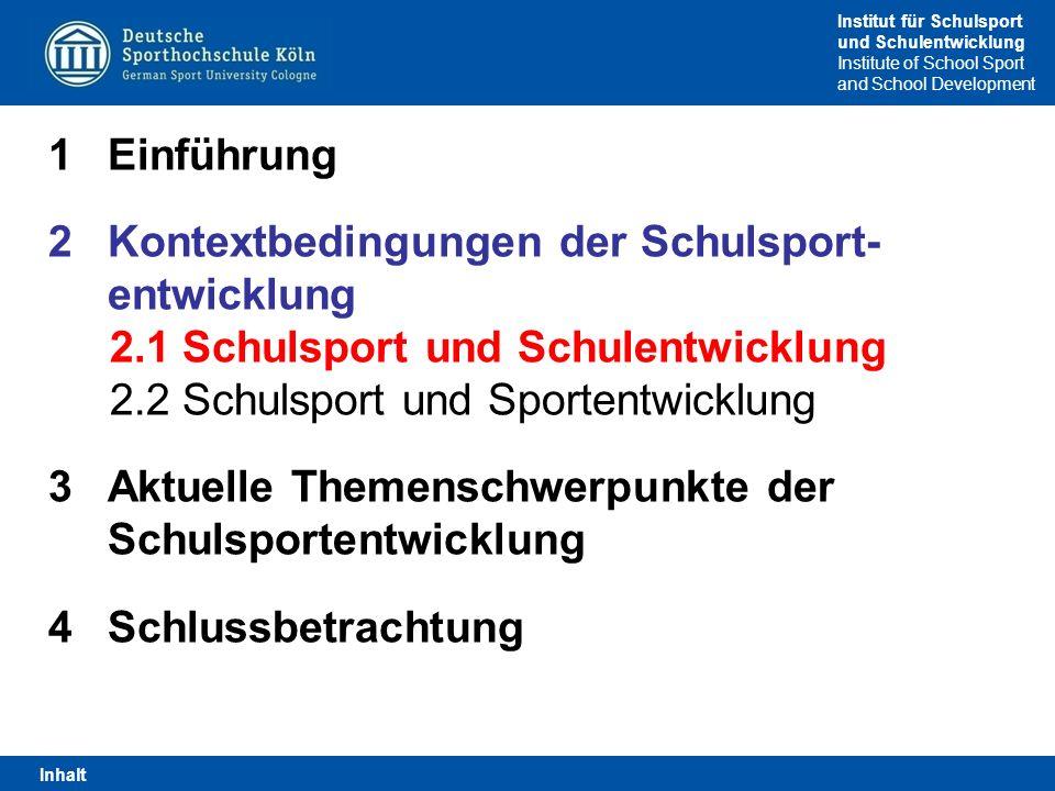 Kontextbedingungen der Schulsport- entwicklung