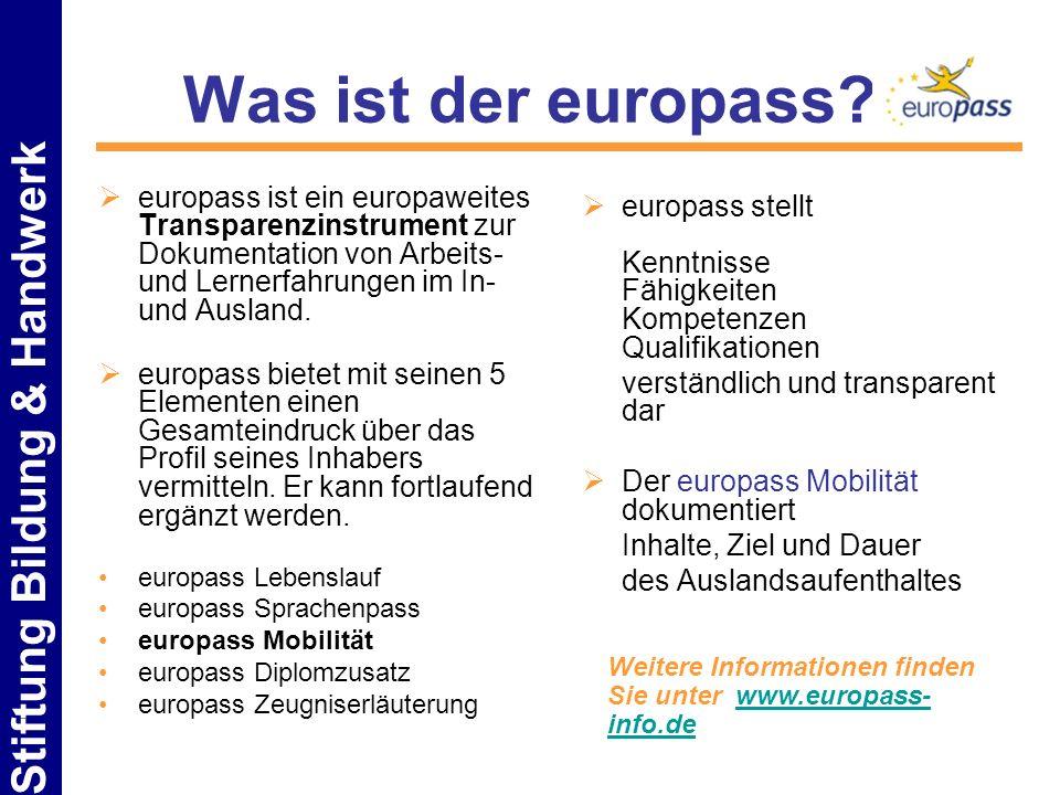 Was ist der europass europass ist ein europaweites Transparenzinstrument zur Dokumentation von Arbeits- und Lernerfahrungen im In- und Ausland.