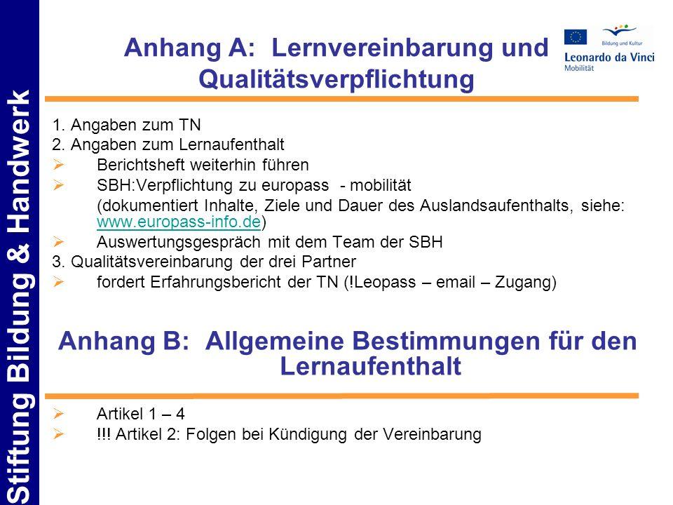 Anhang A: Lernvereinbarung und Qualitätsverpflichtung
