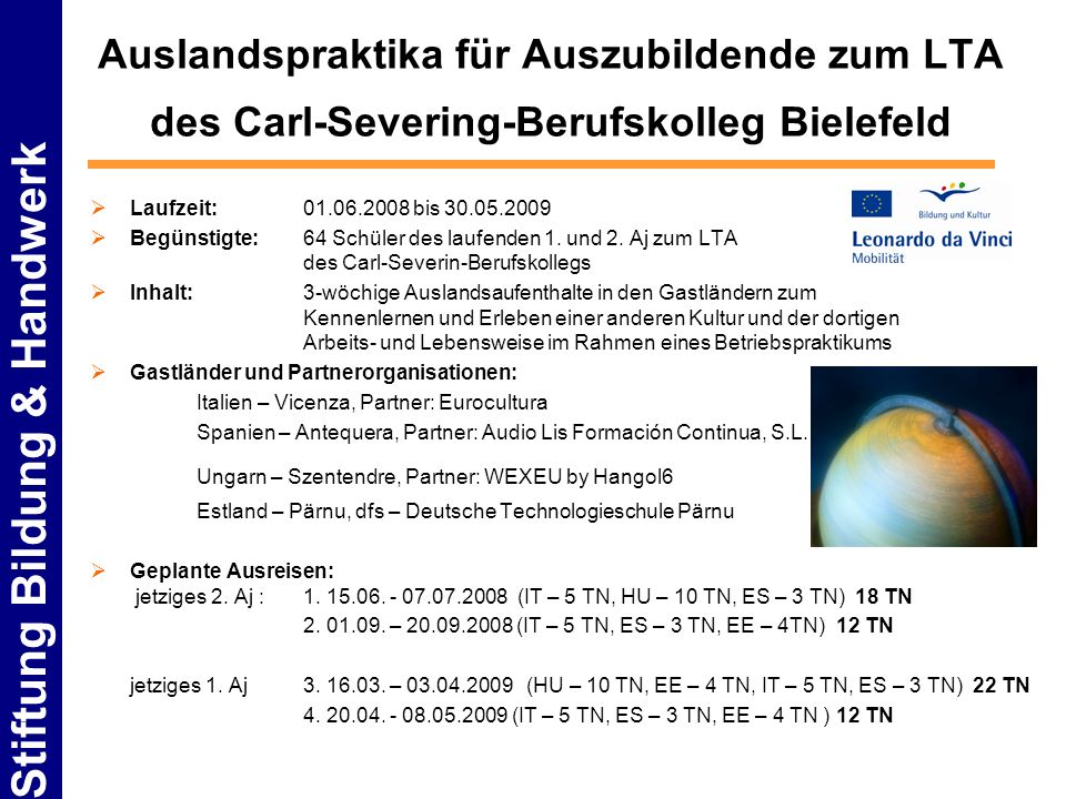 Auslandspraktika für Auszubildende zum LTA des Carl-Severing-Berufskolleg Bielefeld