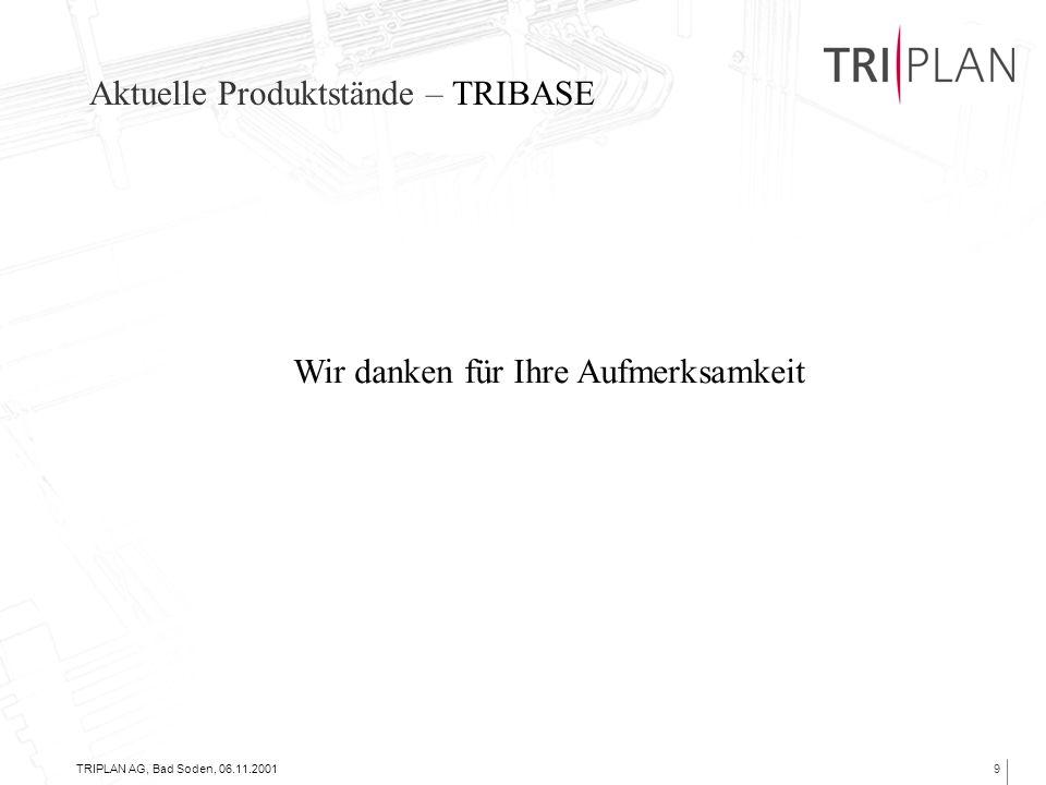 Aktuelle Produktstände – TRIBASE