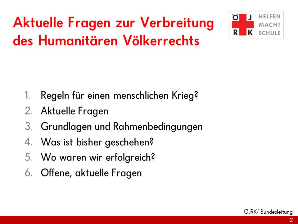 Aktuelle Fragen zur Verbreitung des Humanitären Völkerrechts