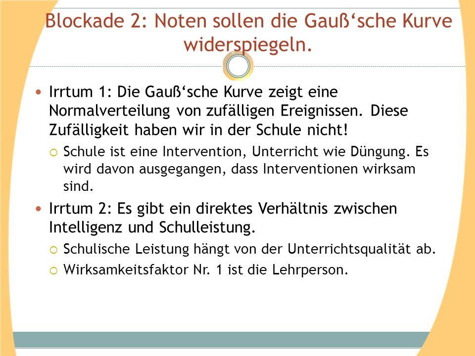 Blockade 2: Noten sollen die Gauß'sche Kurve widerspiegeln.