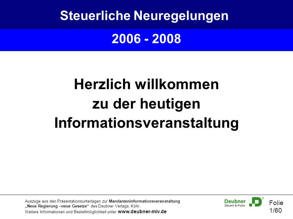 Steuerliche Neuregelungen Informationsveranstaltung