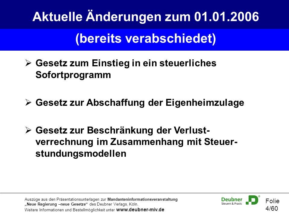 Aktuelle Änderungen zum 01.01.2006 (bereits verabschiedet)