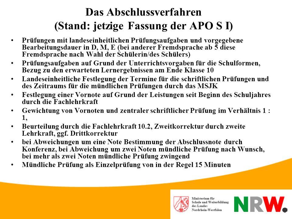 Das Abschlussverfahren (Stand: jetzige Fassung der APO S I)