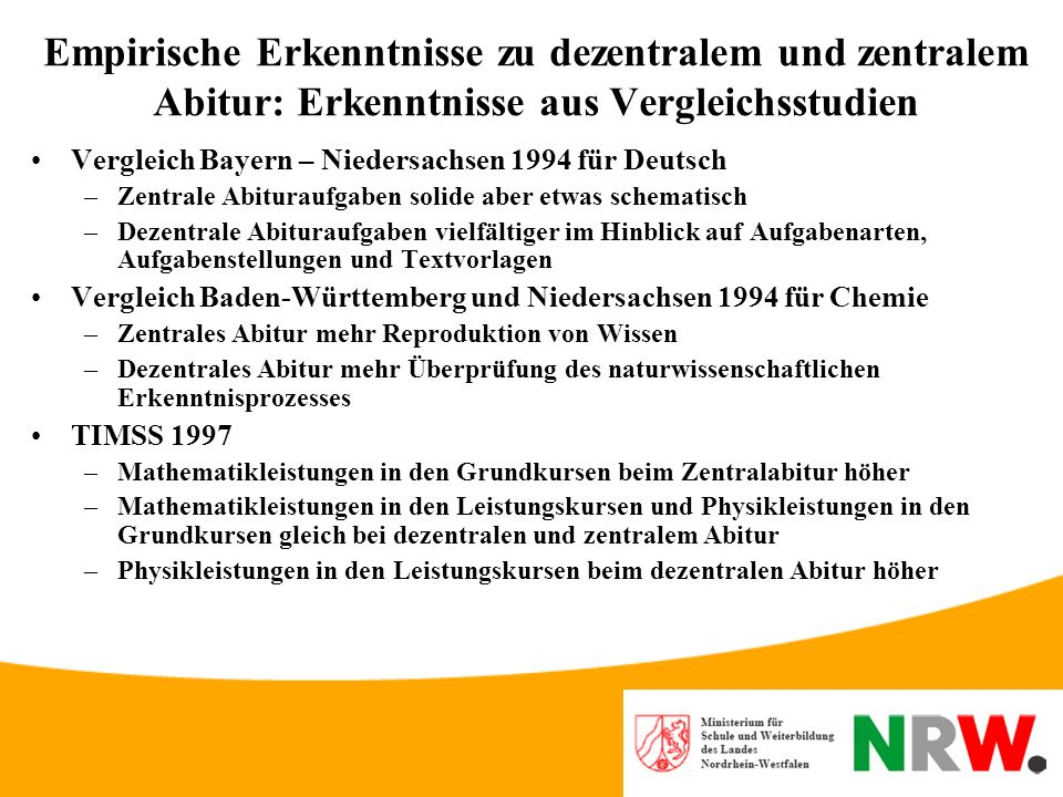 Empirische Erkenntnisse zu dezentralem und zentralem Abitur: Erkenntnisse aus Vergleichsstudien