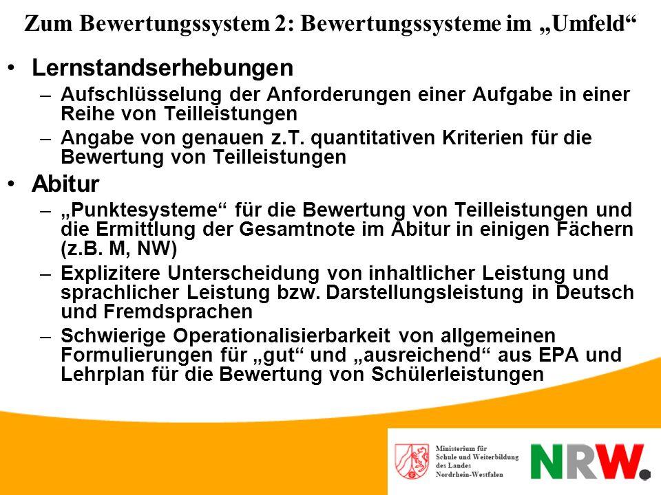 """Zum Bewertungssystem 2: Bewertungssysteme im """"Umfeld"""