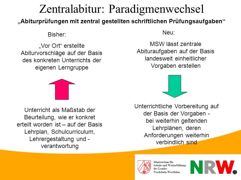 Zentralabitur: Paradigmenwechsel