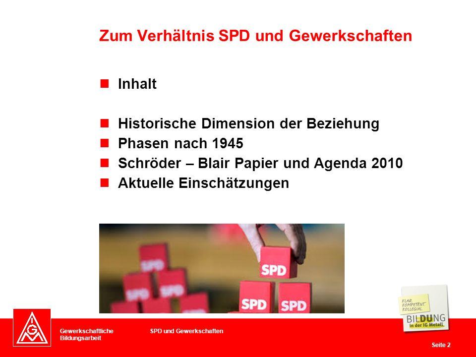 Zum Verhältnis SPD und Gewerkschaften
