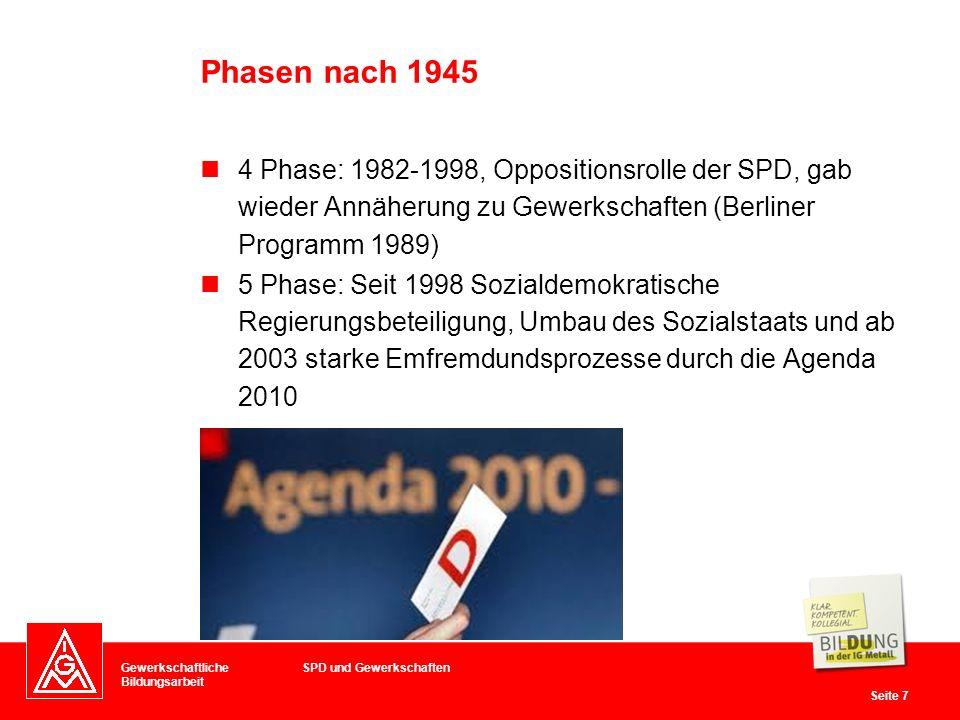 Phasen nach 1945 4 Phase: 1982-1998, Oppositionsrolle der SPD, gab wieder Annäherung zu Gewerkschaften (Berliner Programm 1989)