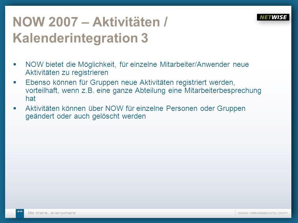 NOW 2007 – Aktivitäten / Kalenderintegration 3