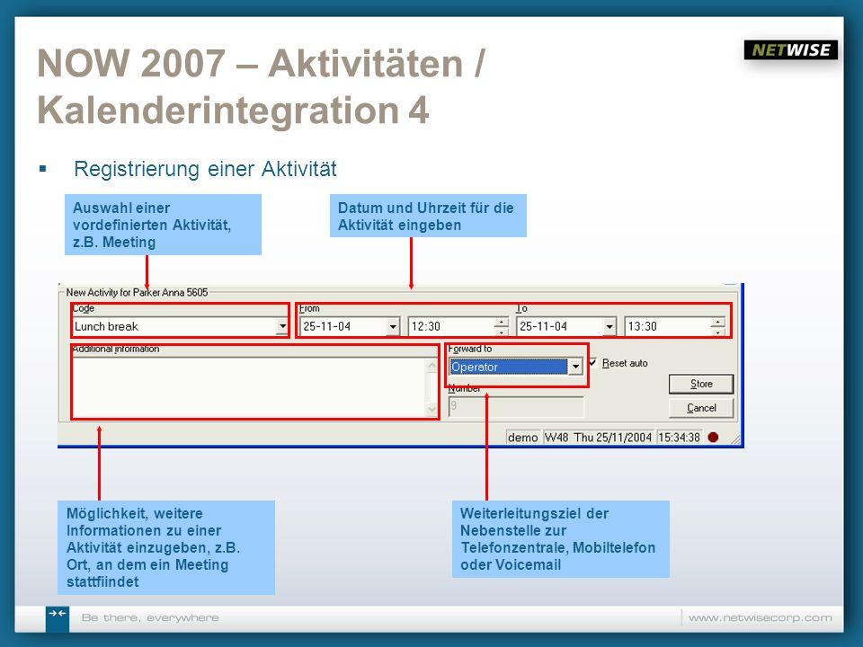 NOW 2007 – Aktivitäten / Kalenderintegration 4