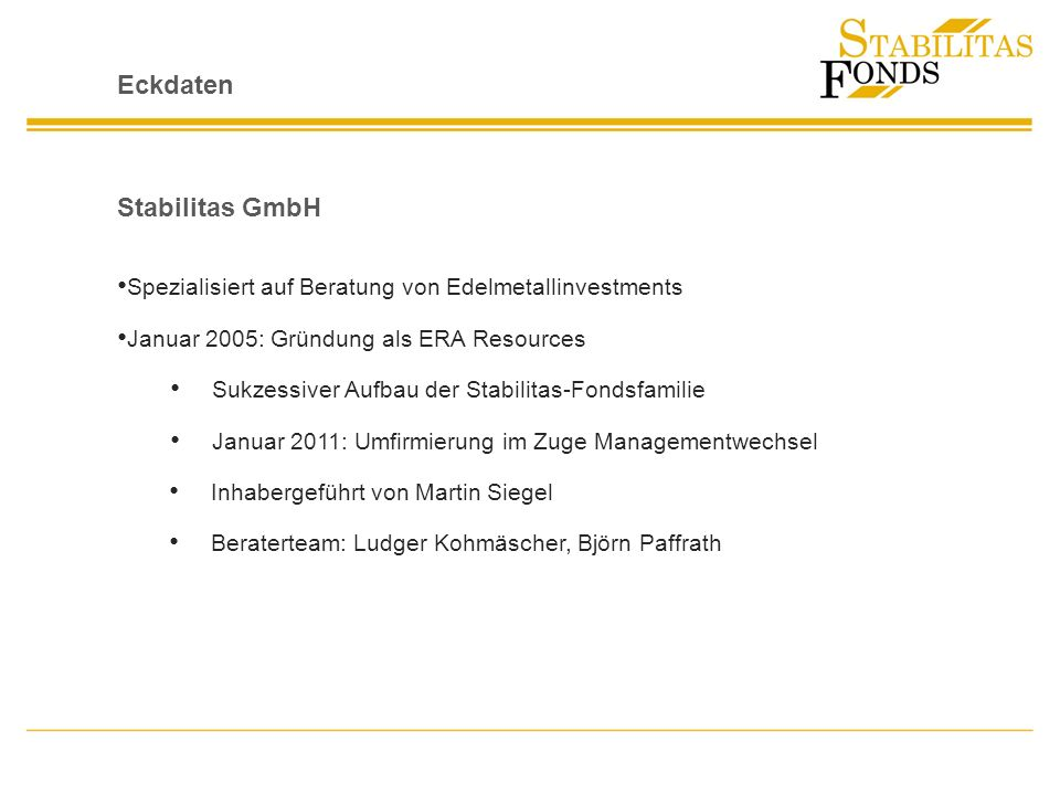 Eckdaten Stabilitas GmbH