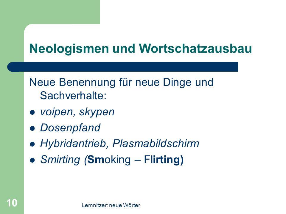 Neologismen und Wortschatzausbau
