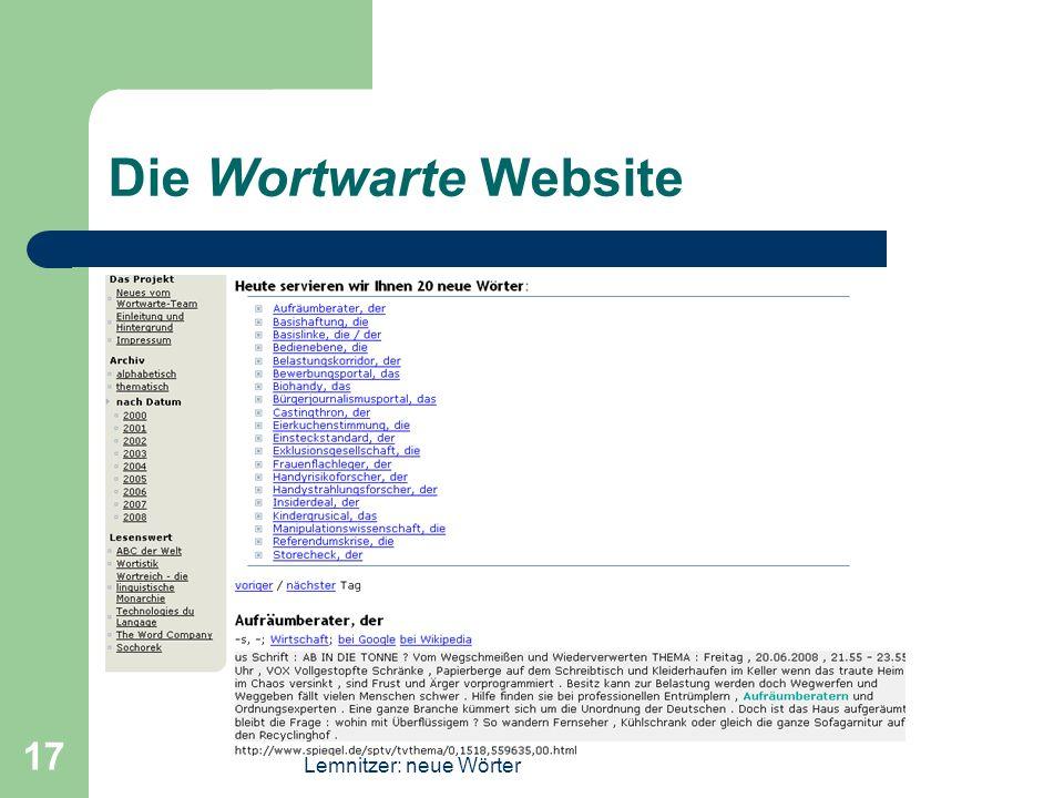 Die Wortwarte Website Lemnitzer: neue Wörter