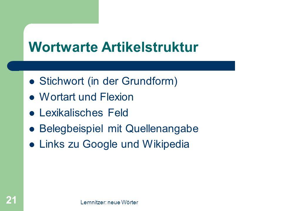 Wortwarte Artikelstruktur