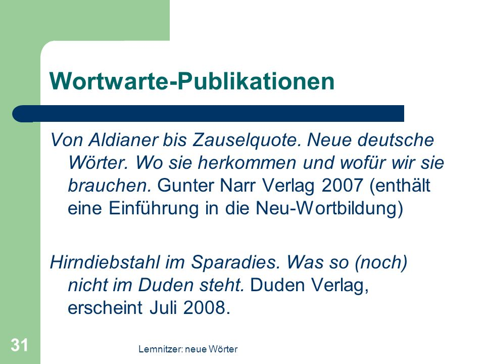 Wortwarte-Publikationen