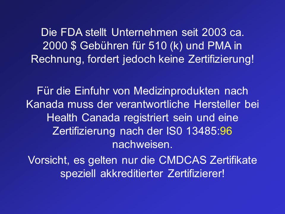 Die FDA stellt Unternehmen seit 2003 ca