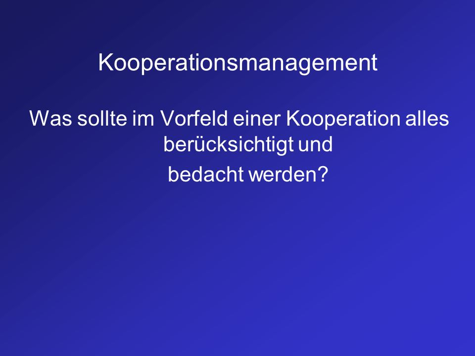 Kooperationsmanagement