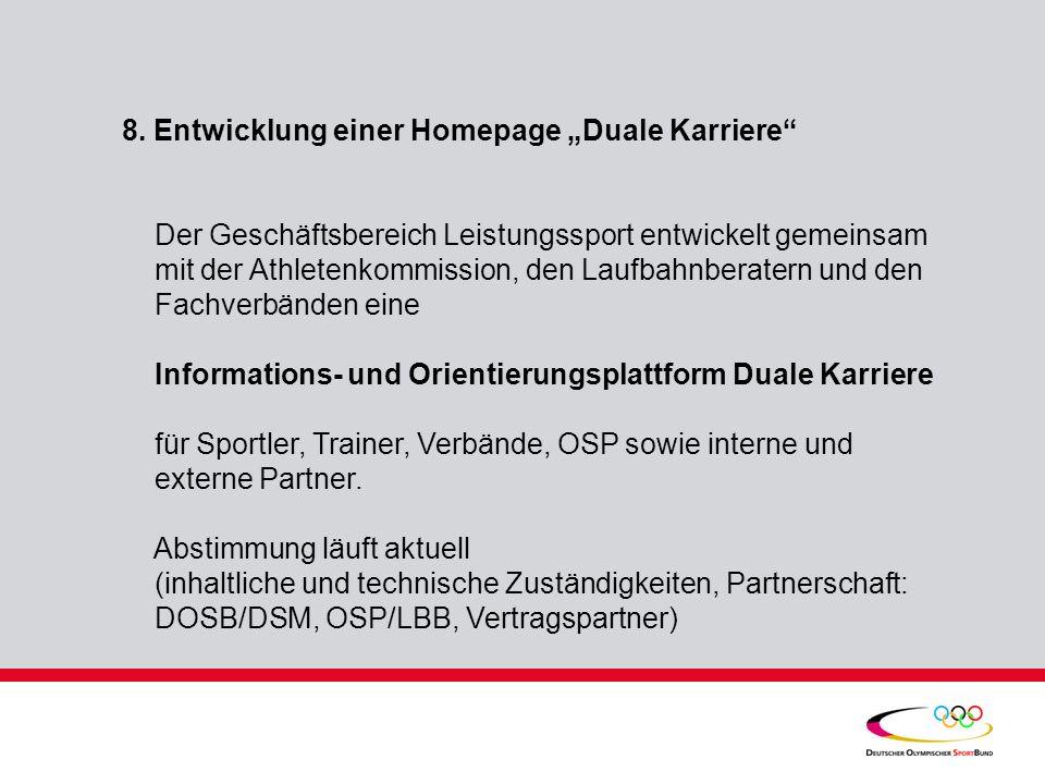 """8. Entwicklung einer Homepage """"Duale Karriere"""