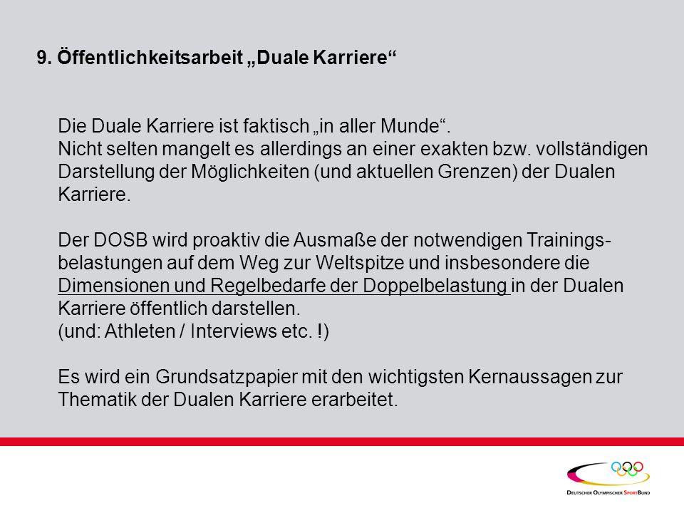 """9. Öffentlichkeitsarbeit """"Duale Karriere"""