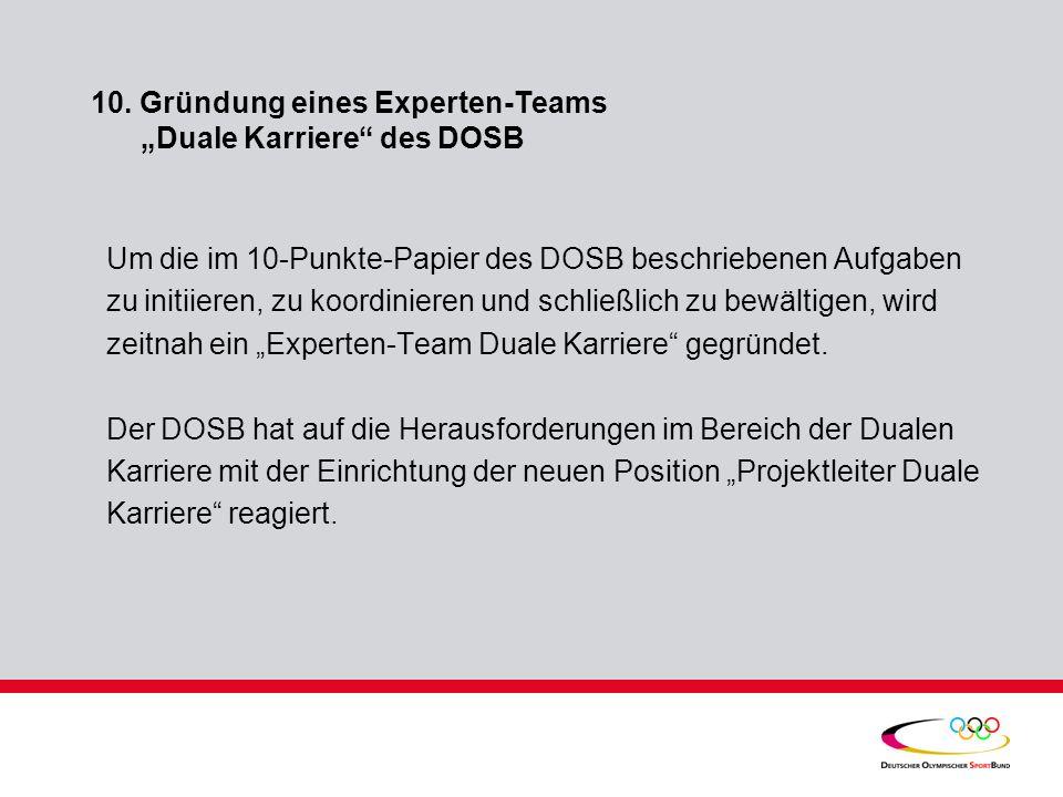 """10. Gründung eines Experten-Teams """"Duale Karriere des DOSB"""
