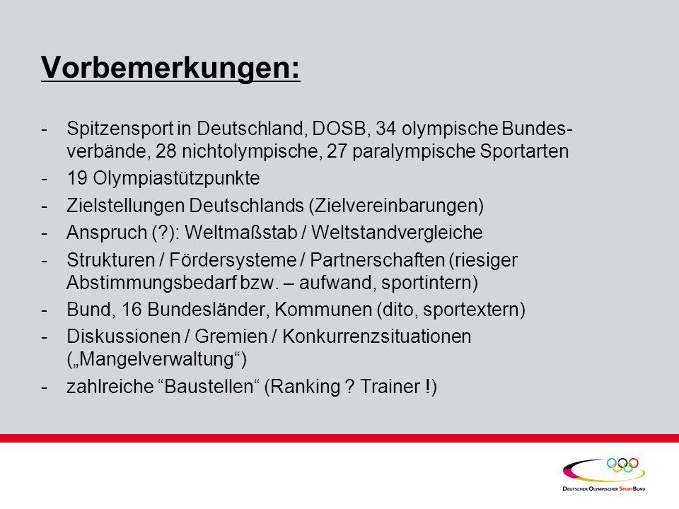 Vorbemerkungen: Spitzensport in Deutschland, DOSB, 34 olympische Bundes-verbände, 28 nichtolympische, 27 paralympische Sportarten.