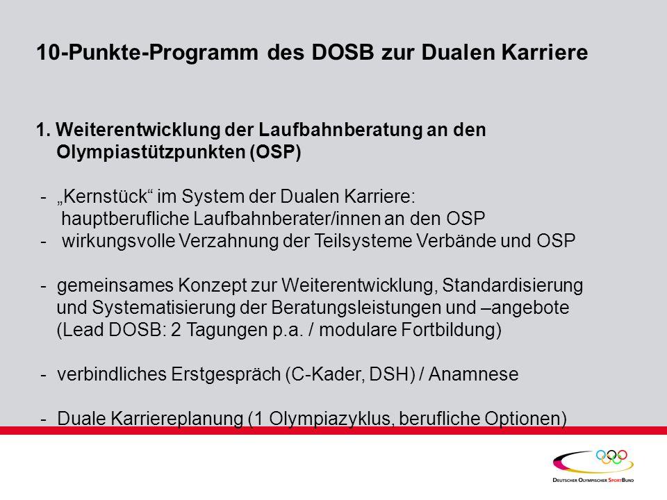 10-Punkte-Programm des DOSB zur Dualen Karriere