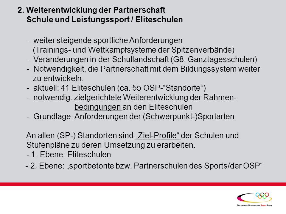 """- 2. Ebene: """"sportbetonte bzw. Partnerschulen des Sports/der OSP"""