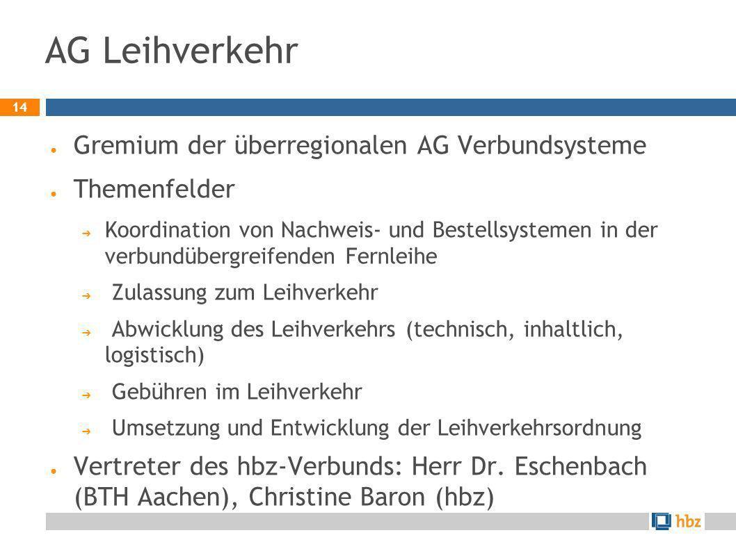 AG Leihverkehr Gremium der überregionalen AG Verbundsysteme