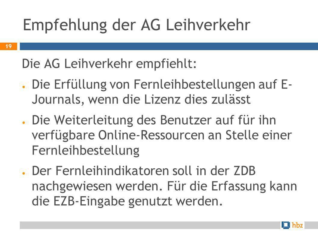 Empfehlung der AG Leihverkehr