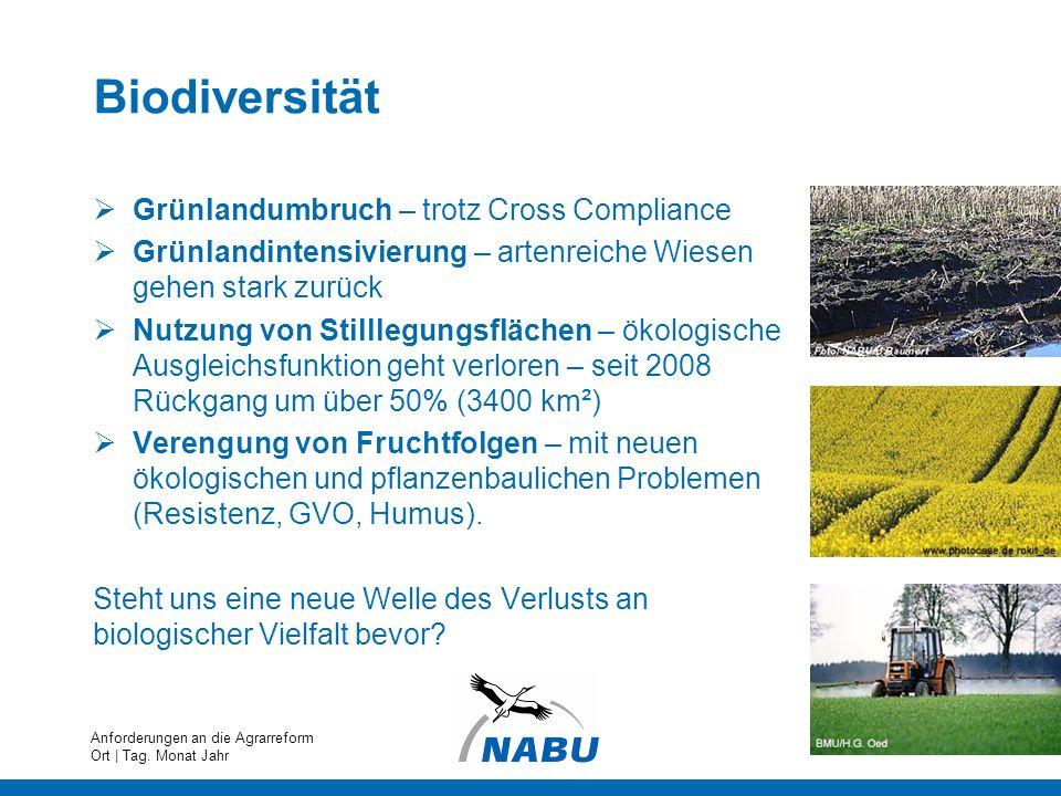 Biodiversität Grünlandumbruch – trotz Cross Compliance