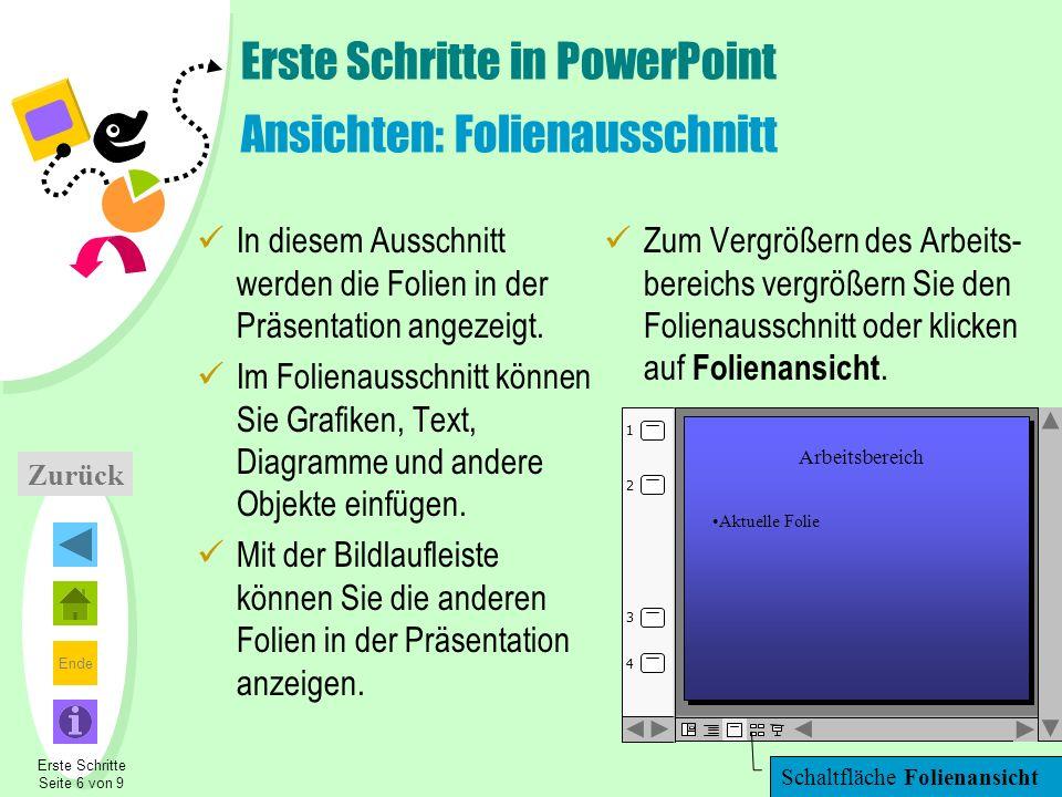 Erste Schritte in PowerPoint Ansichten: Folienausschnitt